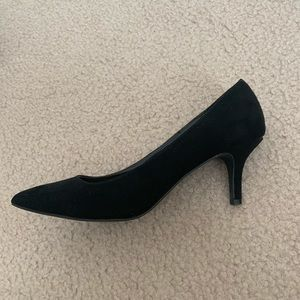 Cathy Jean Suede Black Kitten Pointed Heels